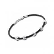 Срібний браслет з каучуком