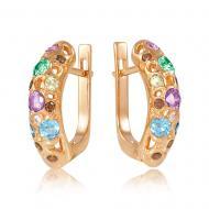 Золоті сережки з кристалами swarovski zirconia