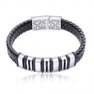 Срібний браслет з шкірою