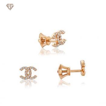 Золоті сережки з фіанітами