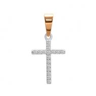 Срібний хрестик з фіанітами